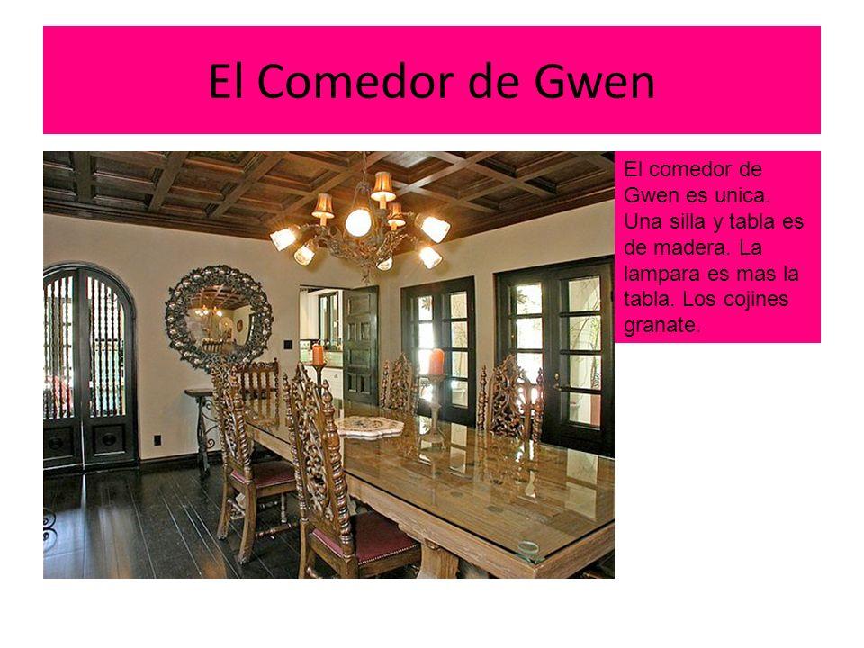 El Comedor de Gwen El comedor de Gwen es unica. Una silla y tabla es de madera.