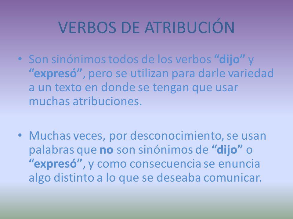 VERBOS DE ATRIBUCIÓN