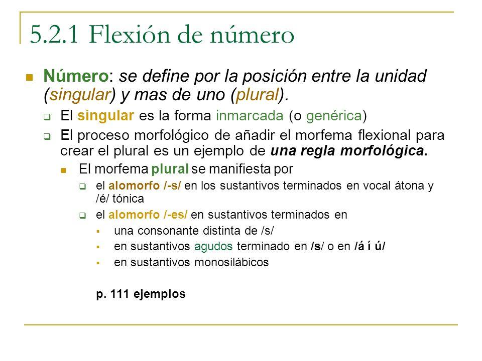 5.2.1 Flexión de número Número: se define por la posición entre la unidad (singular) y mas de uno (plural).