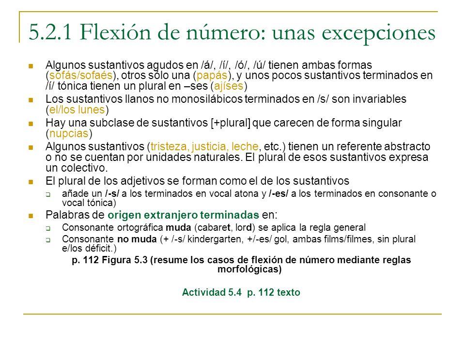 5.2.1 Flexión de número: unas excepciones