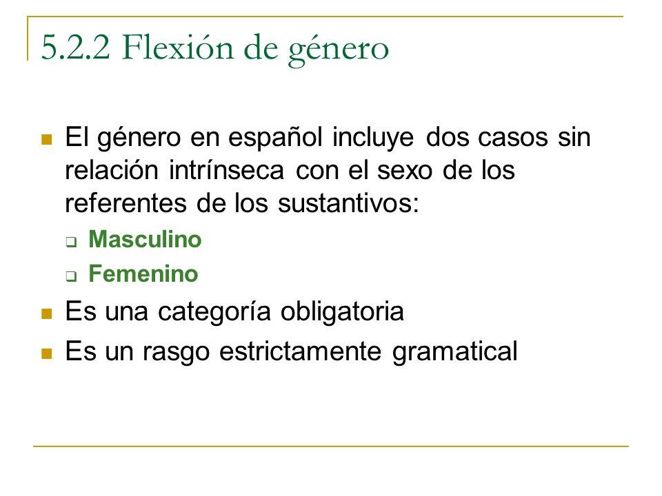 5.2.2 Flexión de género El género en español incluye dos casos sin relación intrínseca con el sexo de los referentes de los sustantivos: