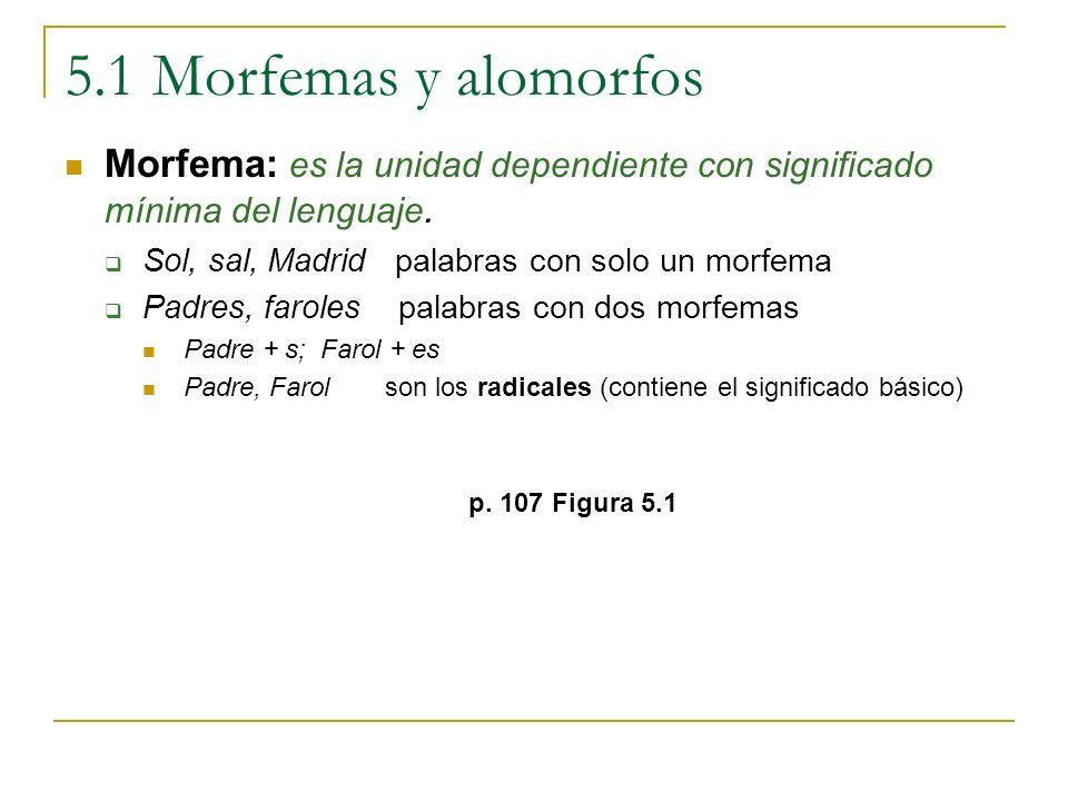 5.1 Morfemas y alomorfos Morfema: es la unidad dependiente con significado mínima del lenguaje. Sol, sal, Madrid palabras con solo un morfema.