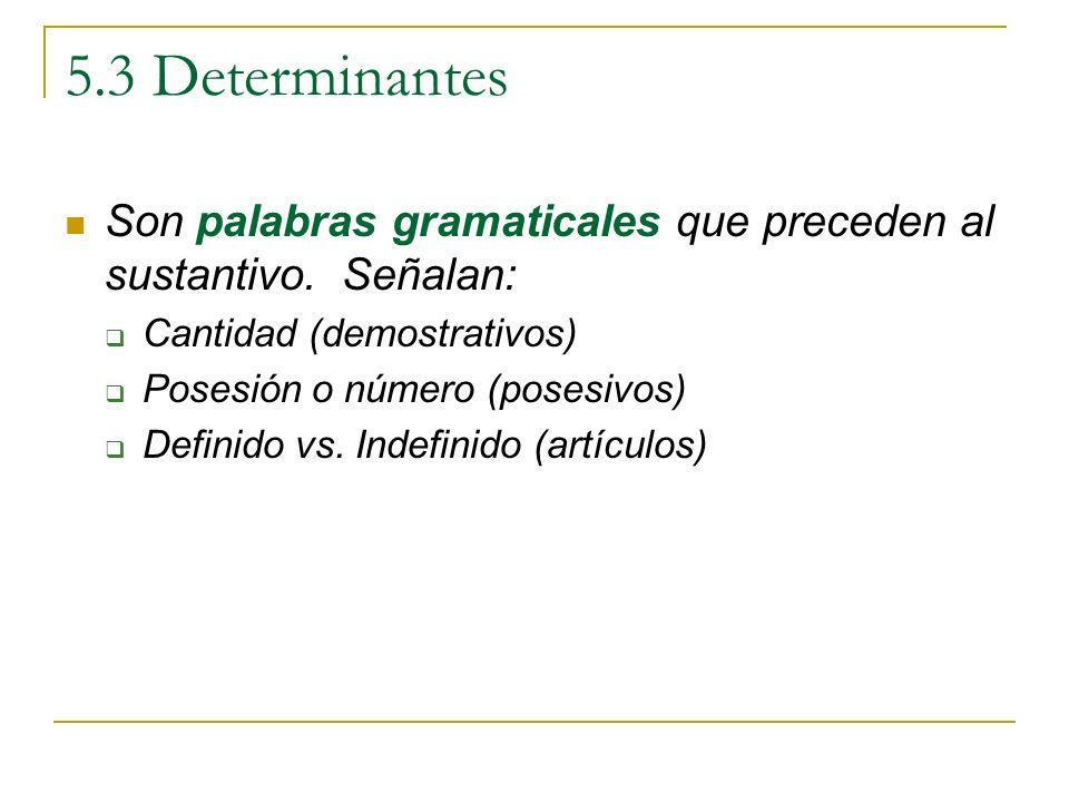 5.3 Determinantes Son palabras gramaticales que preceden al sustantivo. Señalan: Cantidad (demostrativos)