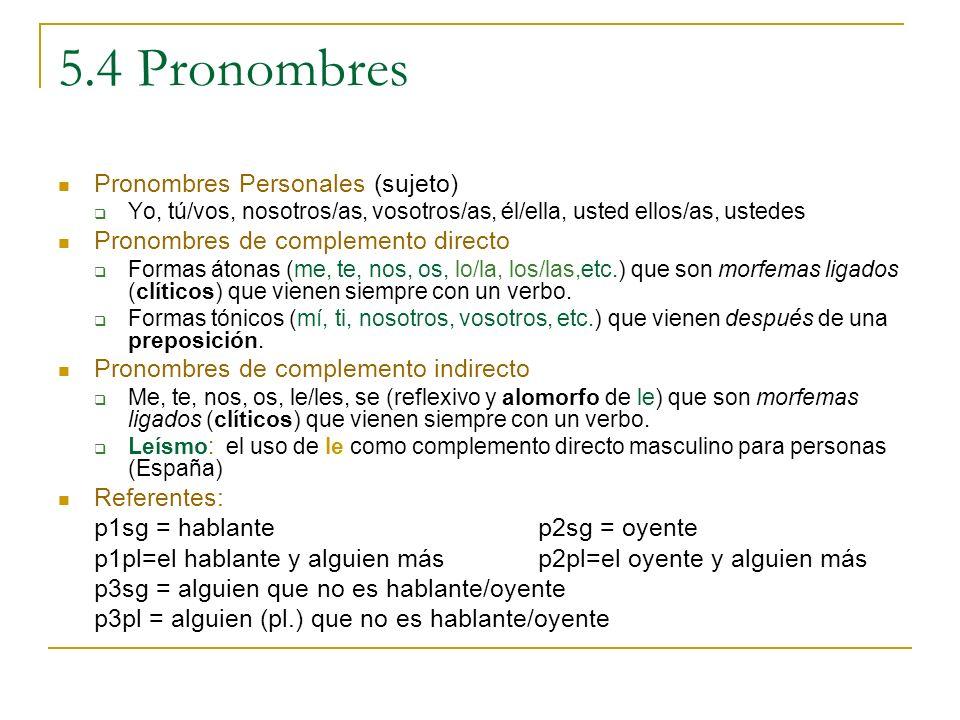 5.4 Pronombres Pronombres Personales (sujeto)