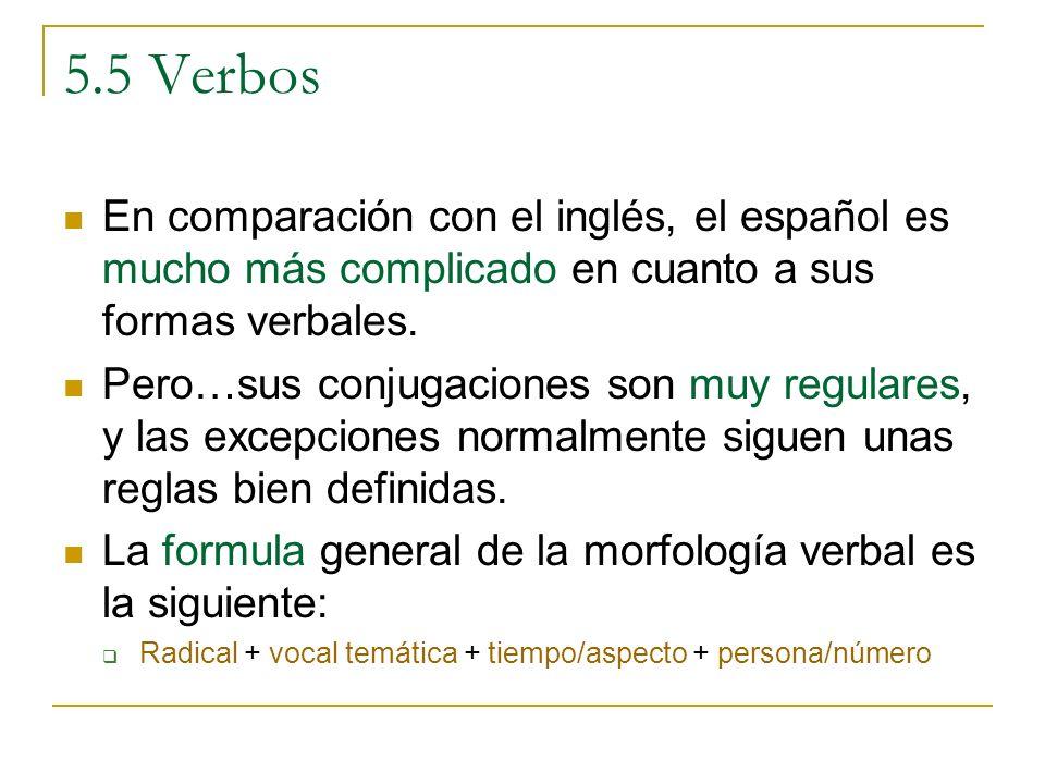 5.5 Verbos En comparación con el inglés, el español es mucho más complicado en cuanto a sus formas verbales.