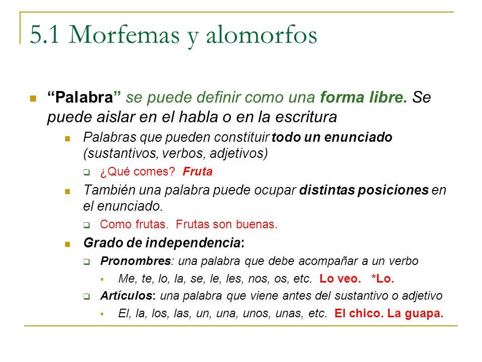 5.1 Morfemas y alomorfos Palabra se puede definir como una forma libre. Se puede aislar en el habla o en la escritura.