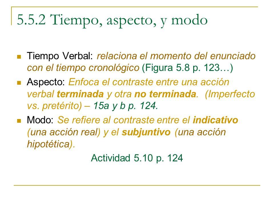 5.5.2 Tiempo, aspecto, y modo Tiempo Verbal: relaciona el momento del enunciado con el tiempo cronológico (Figura 5.8 p. 123…)