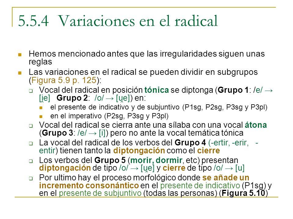 5.5.4 Variaciones en el radical
