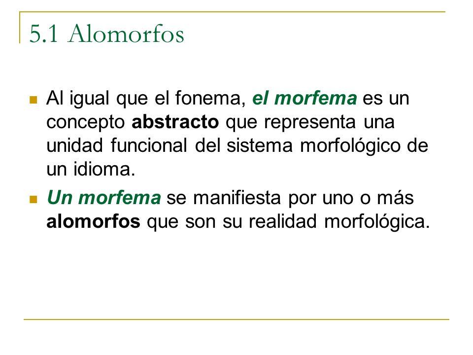 5.1 Alomorfos Al igual que el fonema, el morfema es un concepto abstracto que representa una unidad funcional del sistema morfológico de un idioma.