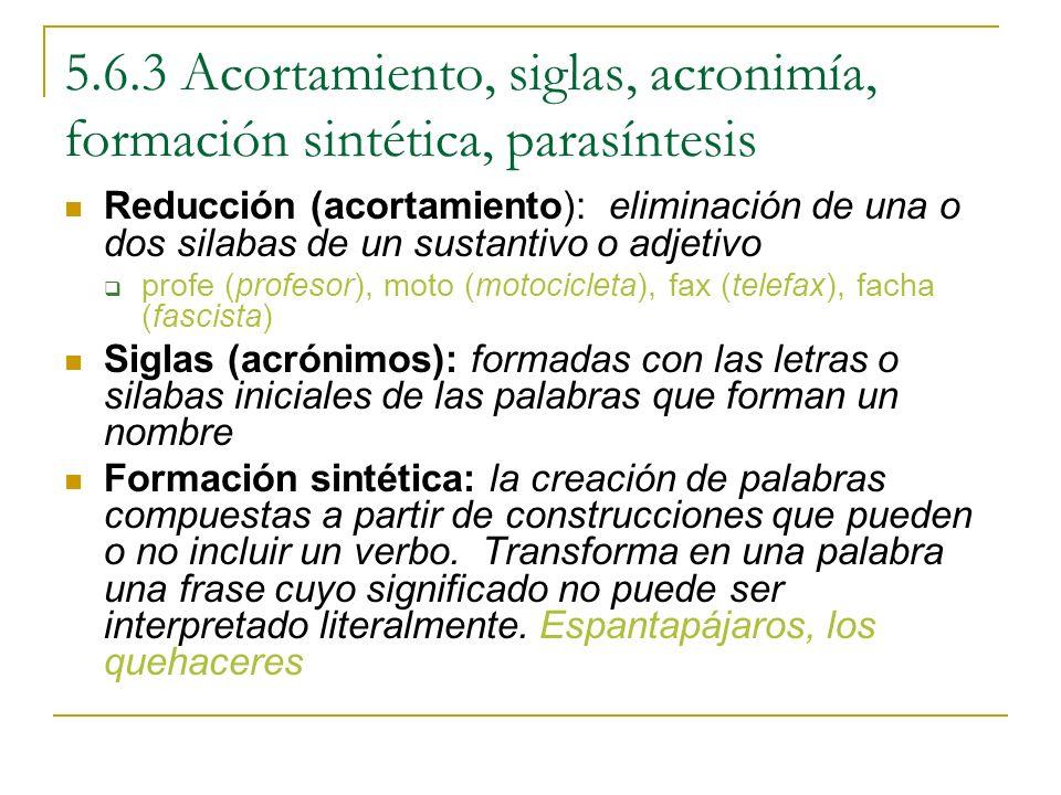 5.6.3 Acortamiento, siglas, acronimía, formación sintética, parasíntesis