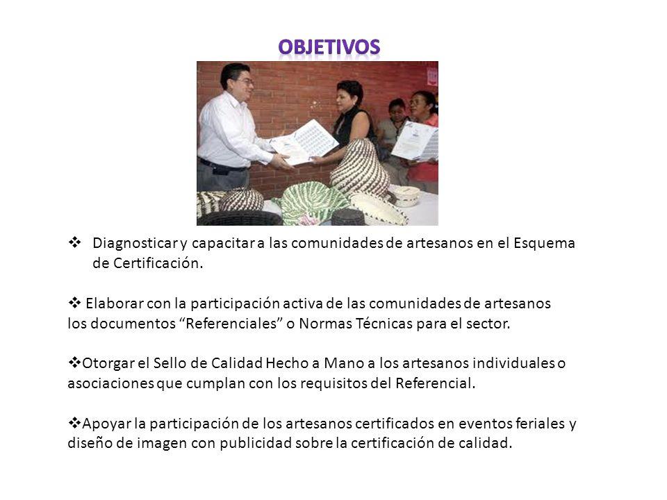 Objetivos Diagnosticar y capacitar a las comunidades de artesanos en el Esquema de Certificación.