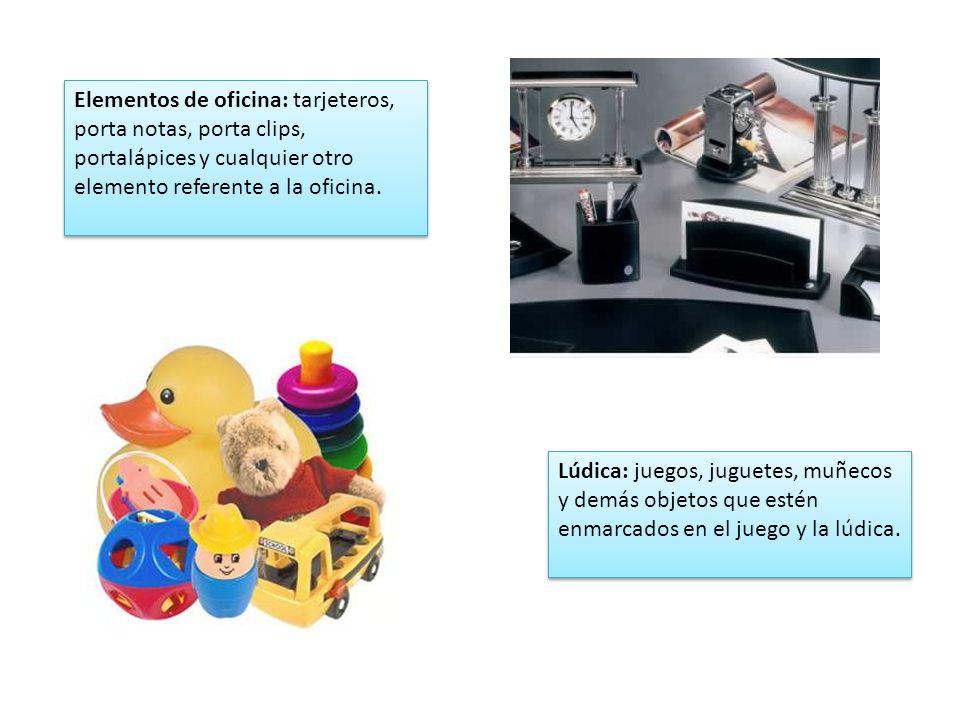 Elementos de oficina: tarjeteros, porta notas, porta clips, portalápices y cualquier otro elemento referente a la oficina.