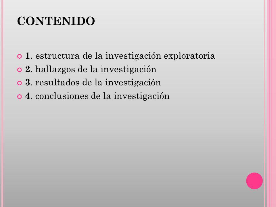 CONTENIDO 1. estructura de la investigación exploratoria