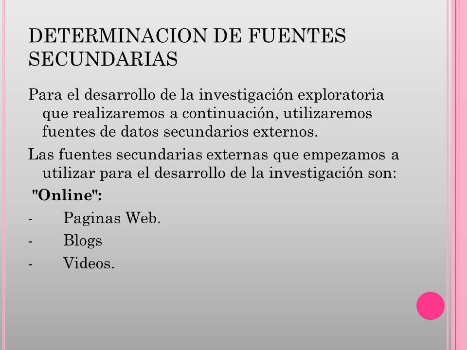 DETERMINACION DE FUENTES SECUNDARIAS