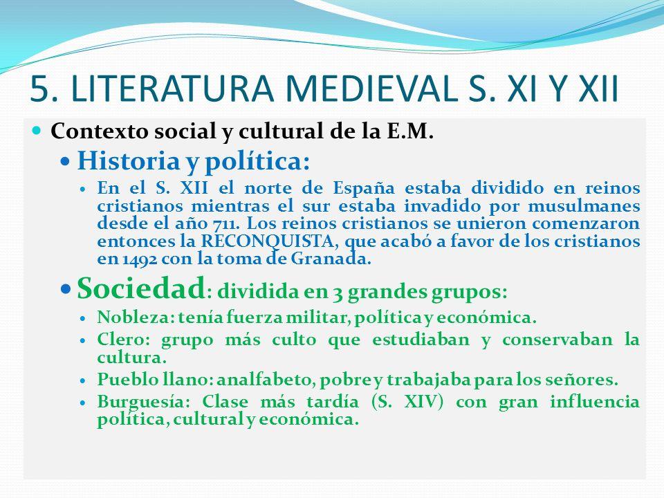 5. LITERATURA MEDIEVAL S. XI Y XII