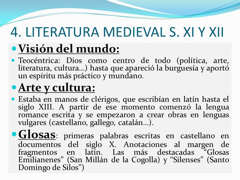 4. LITERATURA MEDIEVAL S. XI Y XII