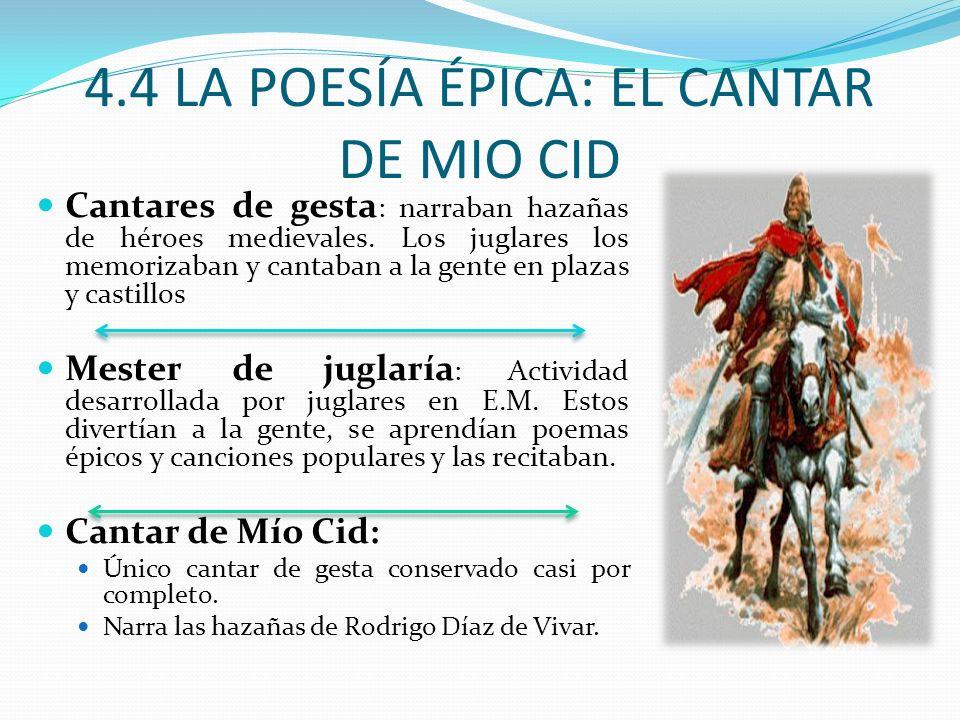 4.4 LA POESÍA ÉPICA: EL CANTAR DE MIO CID