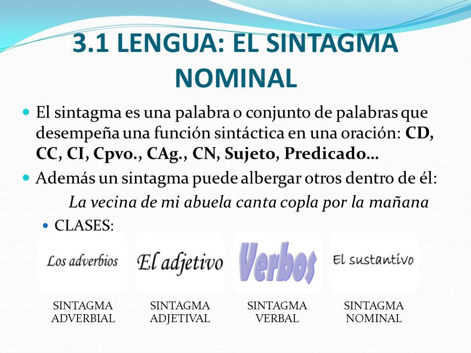3.1 LENGUA: EL SINTAGMA NOMINAL