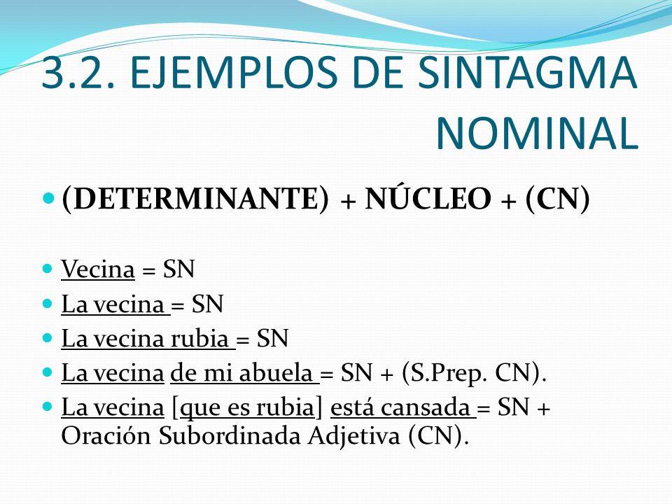 3.2. EJEMPLOS DE SINTAGMA NOMINAL