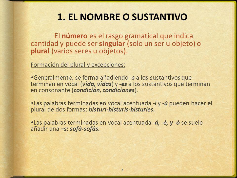 1. EL NOMBRE O SUSTANTIVO Formación del plural y excepciones: