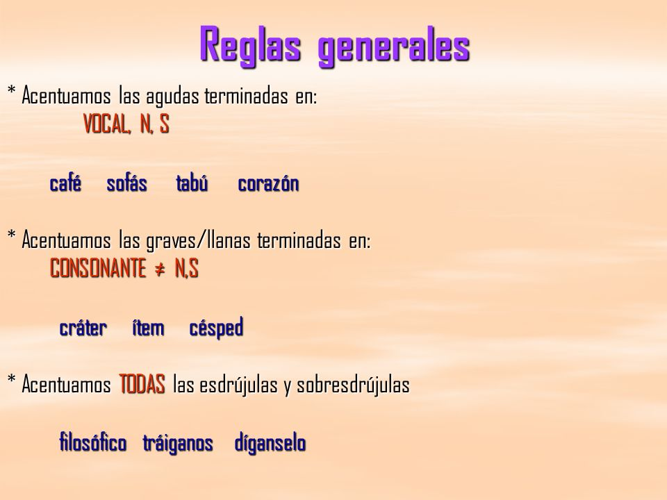 Reglas generales * Acentuamos las agudas terminadas en: VOCAL, N, S