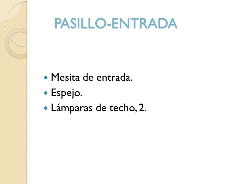 PASILLO-ENTRADA Mesita de entrada. Espejo. Lámparas de techo, 2.