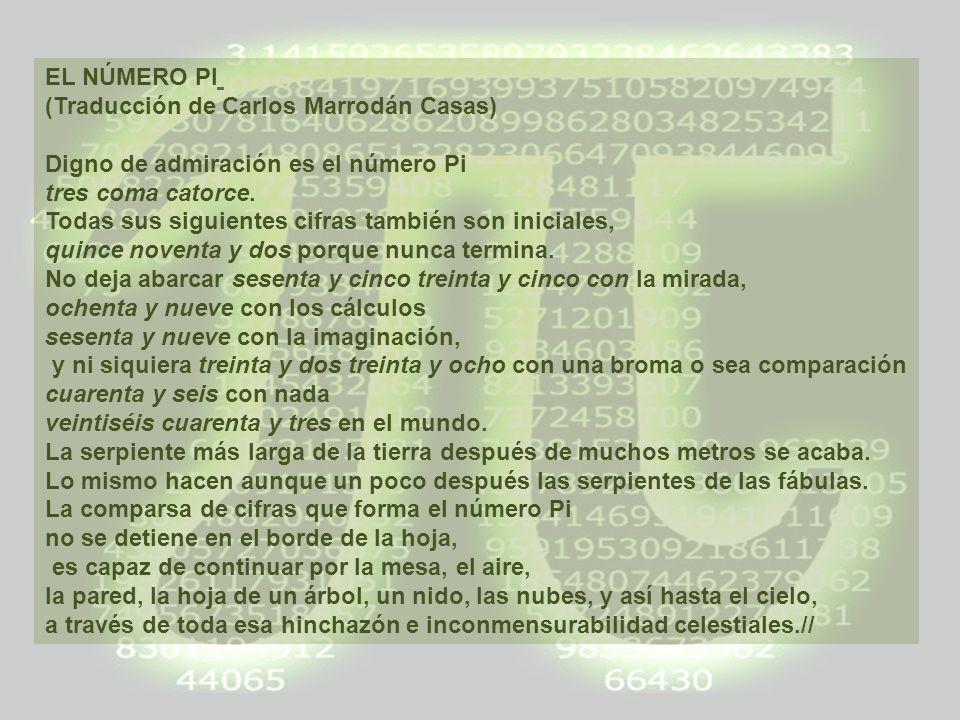 EL NÚMERO PI (Traducción de Carlos Marrodán Casas)