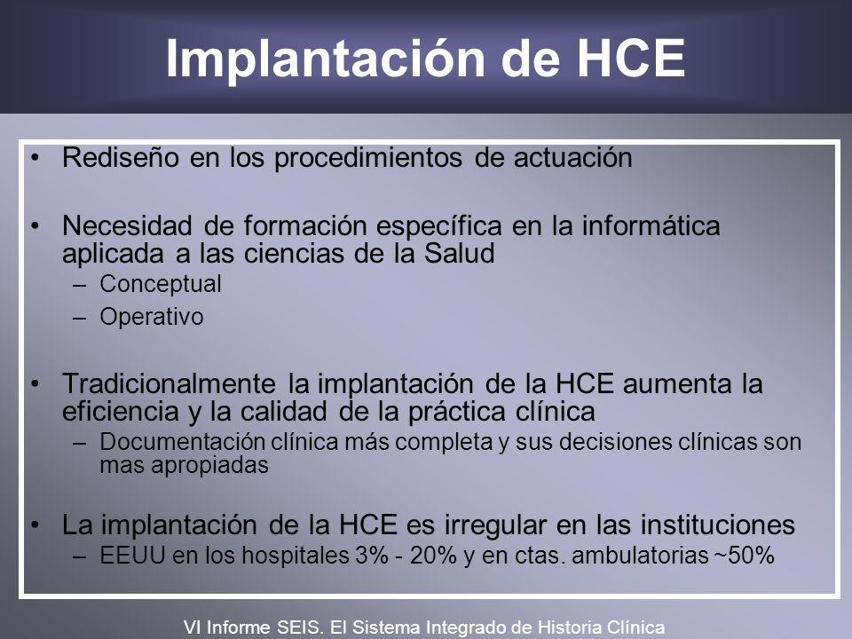 Implantación de HCE Rediseño en los procedimientos de actuación