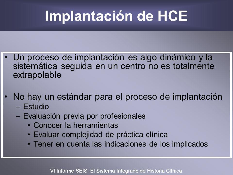 Implantación de HCEUn proceso de implantación es algo dinámico y la sistemática seguida en un centro no es totalmente extrapolable.