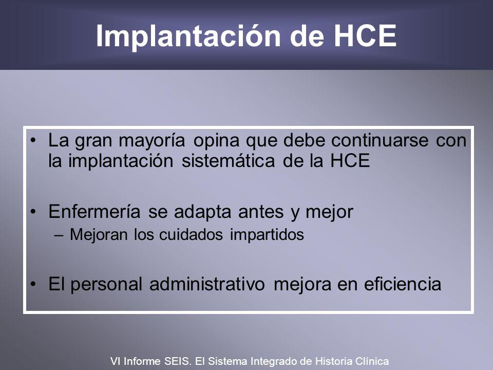 Implantación de HCE La gran mayoría opina que debe continuarse con la implantación sistemática de la HCE.