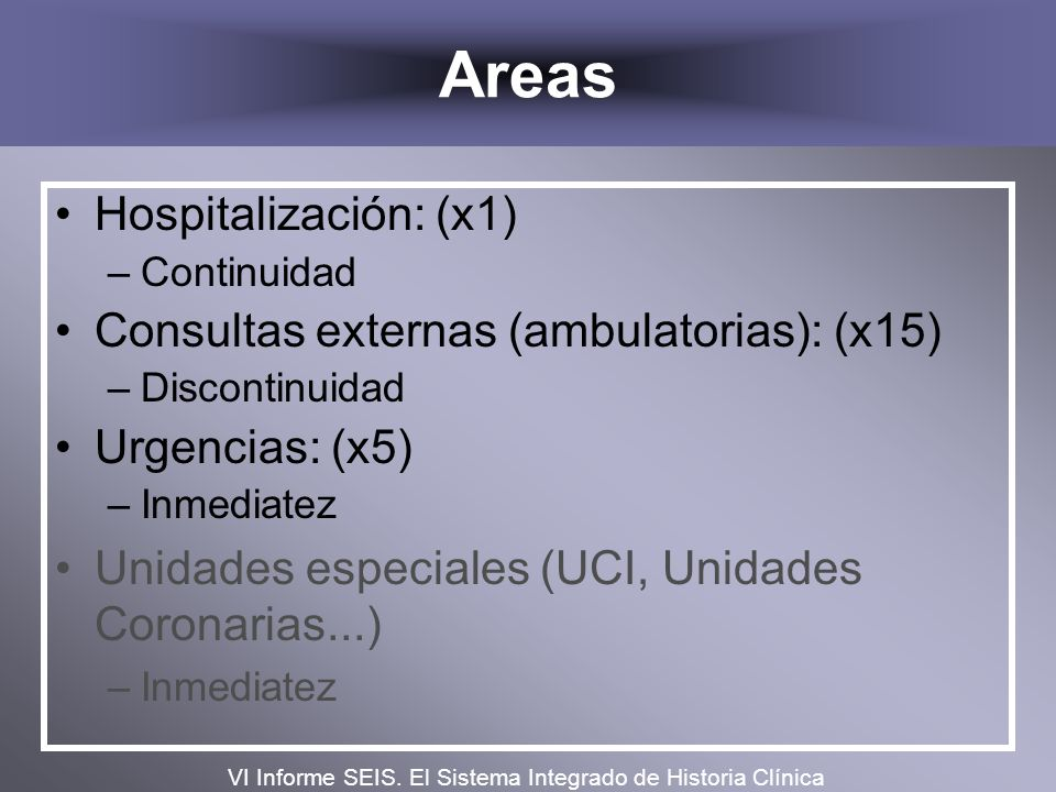 Areas Hospitalización: (x1) Consultas externas (ambulatorias): (x15)