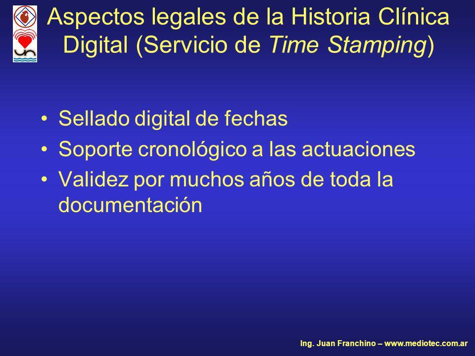 Aspectos legales de la Historia Clínica Digital (Servicio de Time Stamping)
