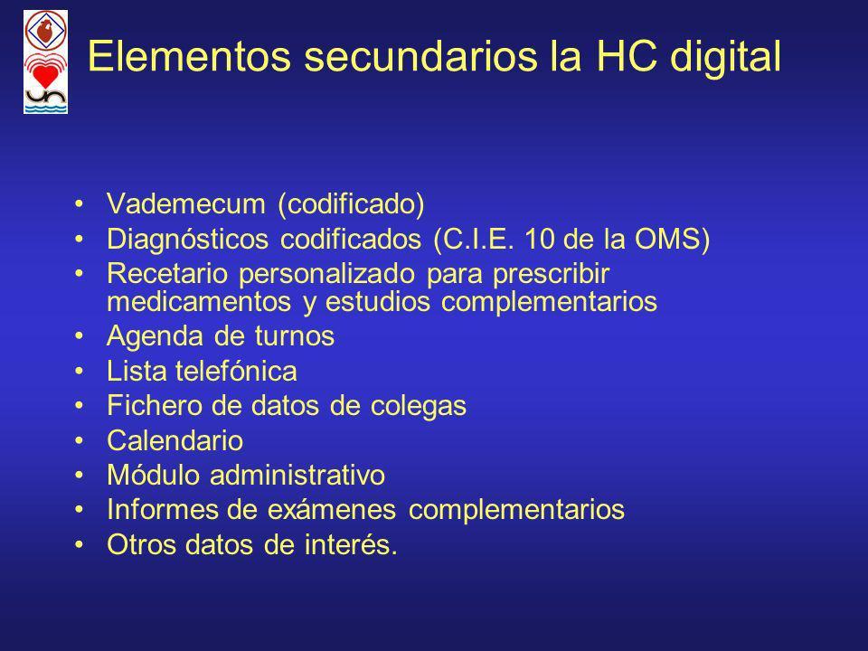 Elementos secundarios la HC digital