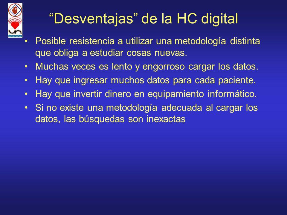 Desventajas de la HC digital
