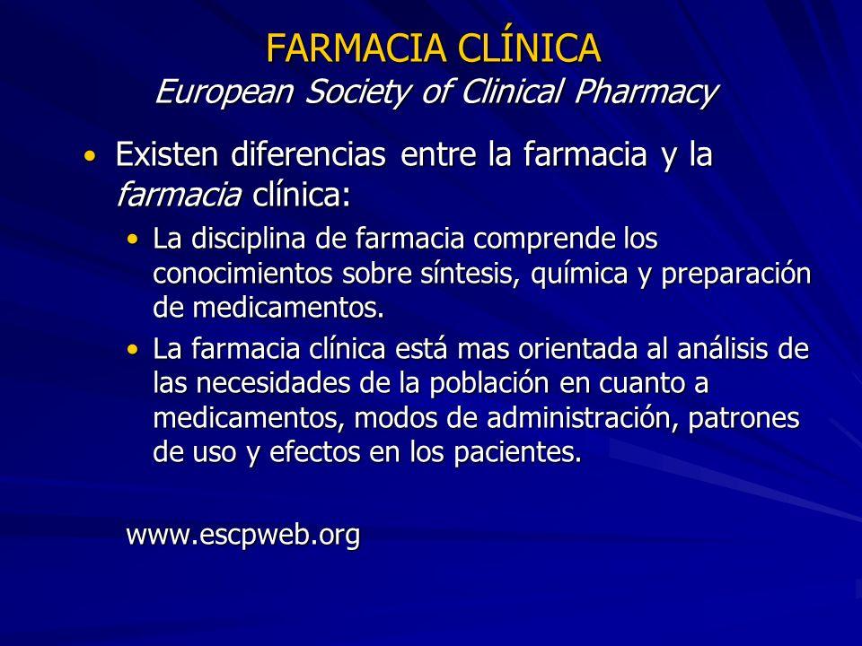 FARMACIA CLÍNICA European Society of Clinical Pharmacy