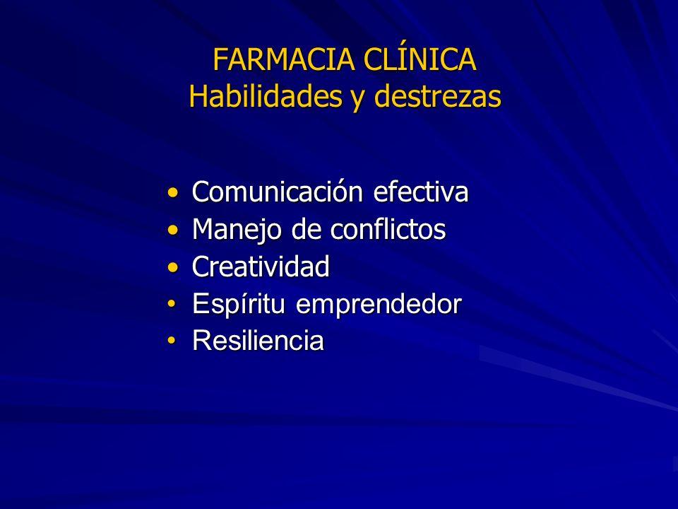 FARMACIA CLÍNICA Habilidades y destrezas