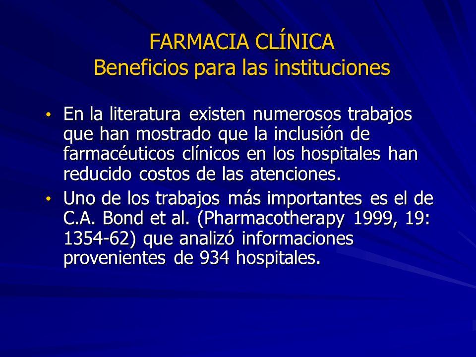 FARMACIA CLÍNICA Beneficios para las instituciones