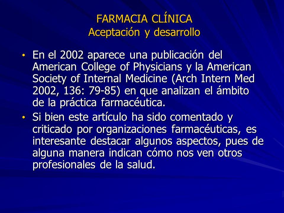 FARMACIA CLÍNICA Aceptación y desarrollo