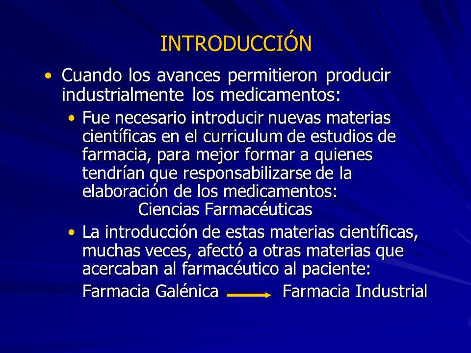 INTRODUCCIÓN Cuando los avances permitieron producir industrialmente los medicamentos: