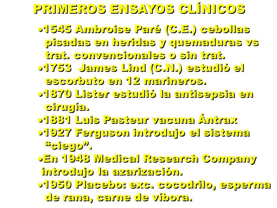PRIMEROS ENSAYOS CLÍNICOS