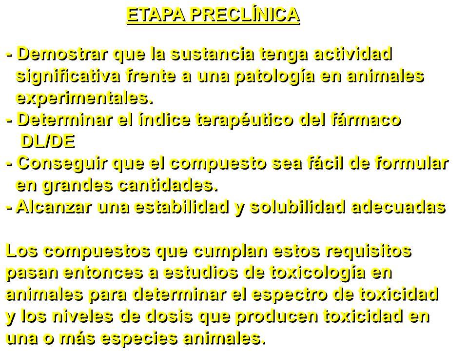 ETAPA PRECLÍNICA - Demostrar que la sustancia tenga actividad. significativa frente a una patología en animales.