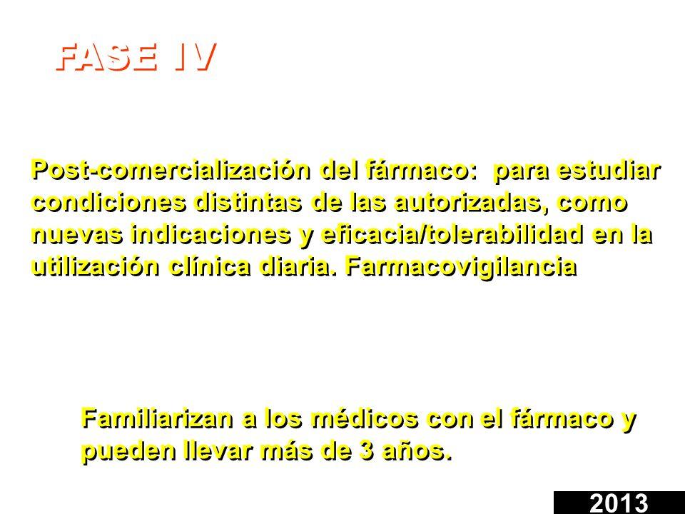 FASE IV Post-comercialización del fármaco: para estudiar