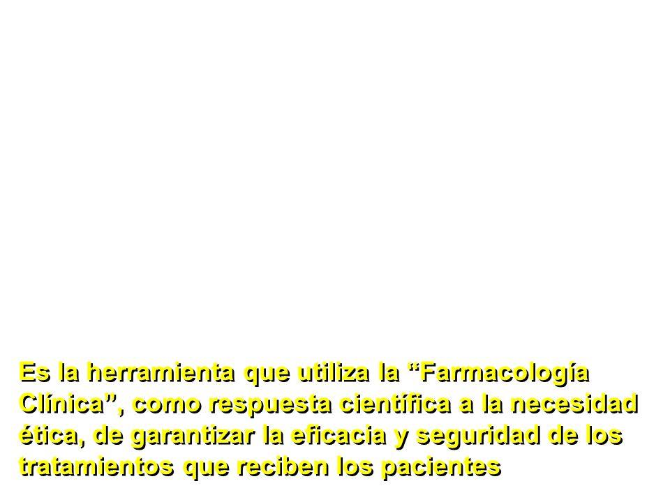 Es la herramienta que utiliza la Farmacología Clínica , como respuesta científica a la necesidad