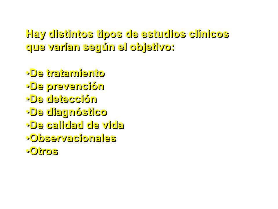 Hay distintos tipos de estudios clínicos que varían según el objetivo: