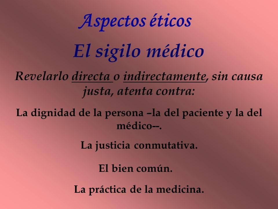 Aspectos éticos El sigilo médico
