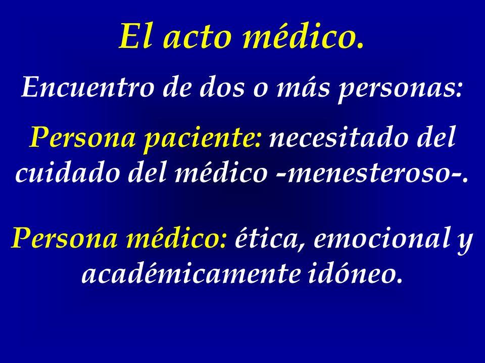 El acto médico. Encuentro de dos o más personas: