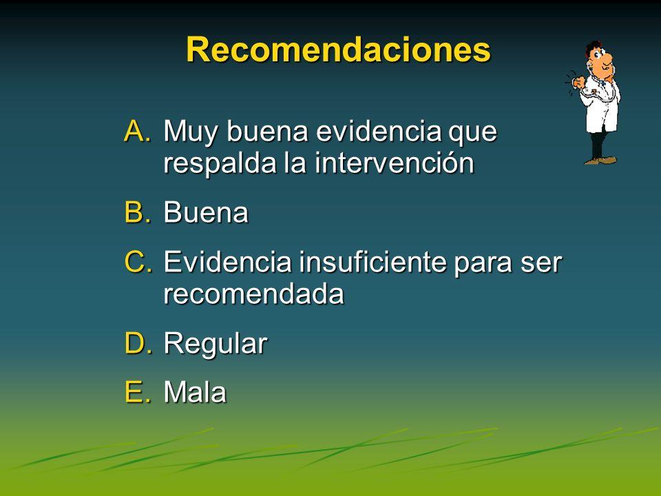 Recomendaciones Muy buena evidencia que respalda la intervención Buena