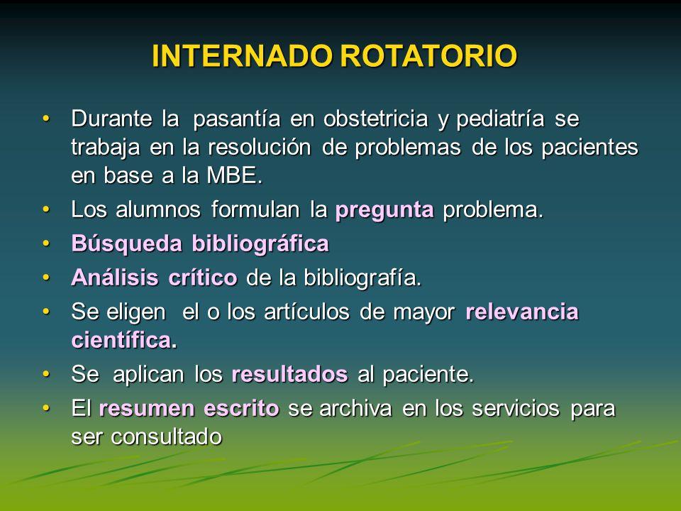 INTERNADO ROTATORIO Durante la pasantía en obstetricia y pediatría se trabaja en la resolución de problemas de los pacientes en base a la MBE.