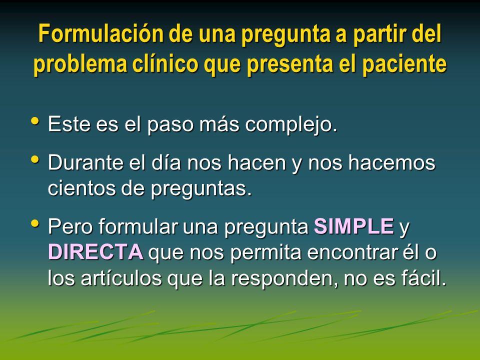 Formulación de una pregunta a partir del problema clínico que presenta el paciente