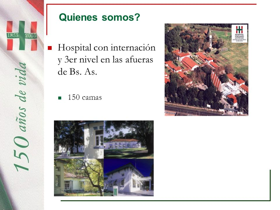 Hospital con internación y 3er nivel en las afueras de Bs. As.